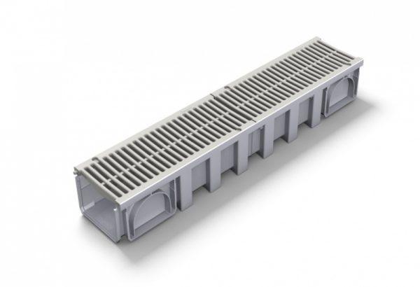 کانال پیش ساخته آب مدل CAN188+GRL88 با درپوش ( گریتینگ ) پی وی سی